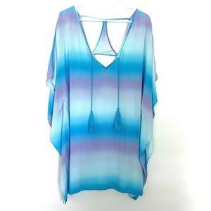 Victoria's Secret Blue Swim Cover Up Caftan Dress